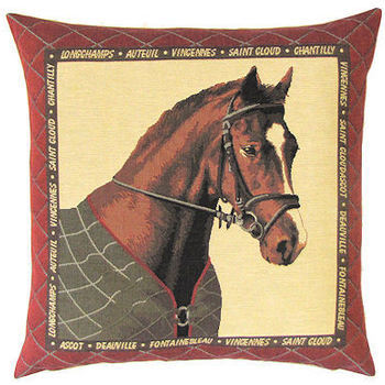 """Hors Brown"" Belgian Tapestry cushion"