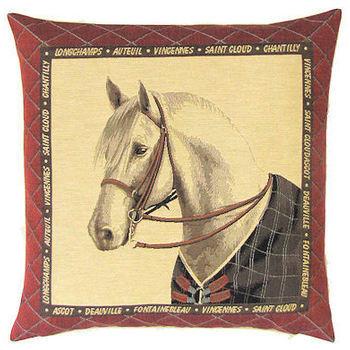 """Horse white"" Belgian tapestry cushion"