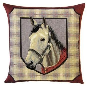 """Horse white II"" Belgian tapestry cushion"