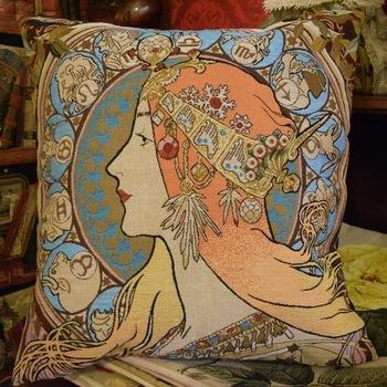 """Lady zodiac, Alphonse Mucha""Belgische tapisserie kussen"