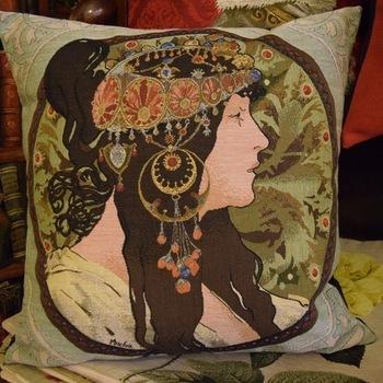 """Lady, Alphonse Mucha"" Belgium Tapestry cushion"