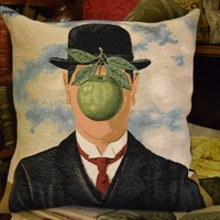 """The son of the man, René Magritte "" Belgium Tapestry cushion"