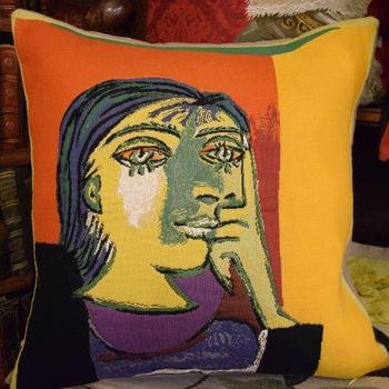 """""""Portrait of Dora, Pablo Picasso """" Belgium Tapestry cushion"""
