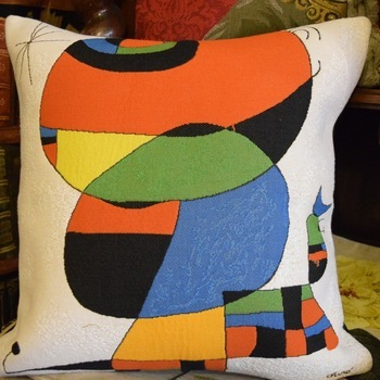 """Woman, bird, star, Miro "" Belgium Tapestry cushion"