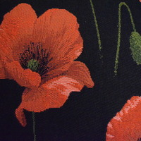 """Poppies allover, black""  Belgium Tapestry cushion"