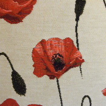 """Poppies allover, beige""  Belgium Tapestry cushion"