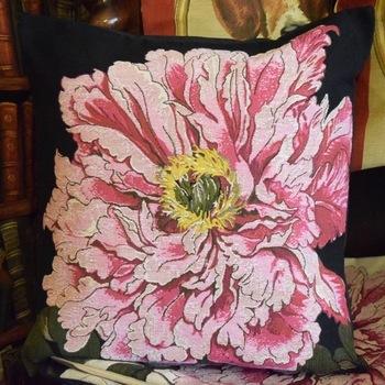 """""""Pink rose, black""""  Belgium Tapestry cushion"""
