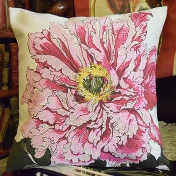 """Pink rose, beige""  Belgium Tapestry cushion"