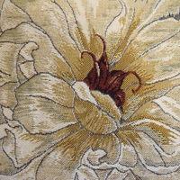 """White rose, beige""  Belgium Tapestry cushion"