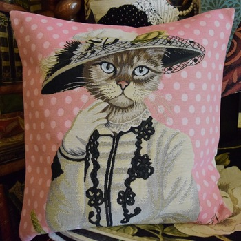 """Kat pink""  Belgium Tapestry cushion"