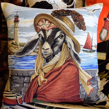 """""""Miss goat with hat""""  Belgium Tapestry cushion"""