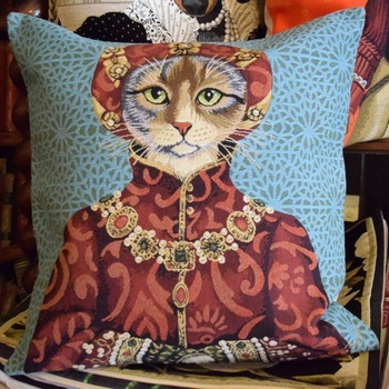 """Dressed up cat, blue""  Belgium Tapestry cushion"