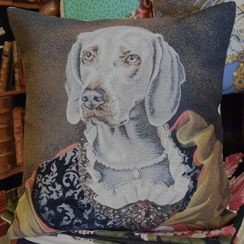 """Lady weimeraner""  Belgium Tapestry cushion"