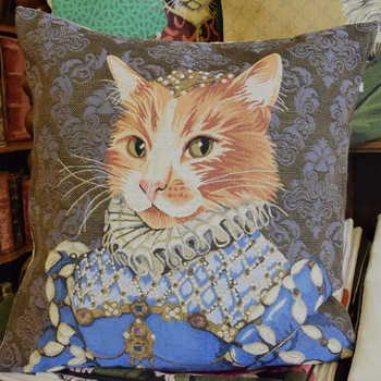 """Lady cat blue""  Belgium Tapestry cushion"