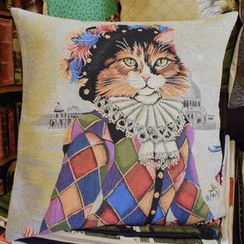 """""""Cat harlequinl""""  Belgium Tapestry cushion"""