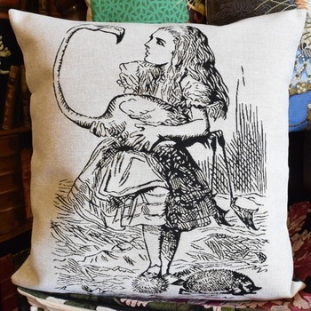 """Alice in wonderland, Alice zw/w""  Belgium Tapestry cushion"