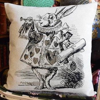 """Alice in wonderland, White rabbit zw/w""  Belgium Tapestry cushion"