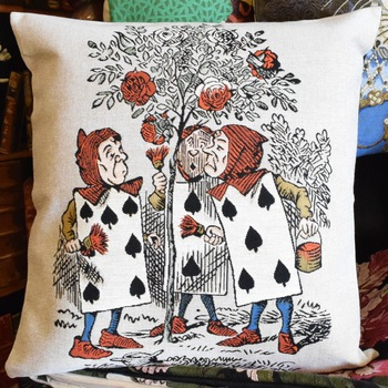 """Alice in wonderland, the playing cards""  Belgium Tapestry cushion"