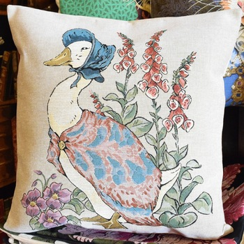 """Beatrix potter, Jemima puddle""  Belgium Tapestry cushion"