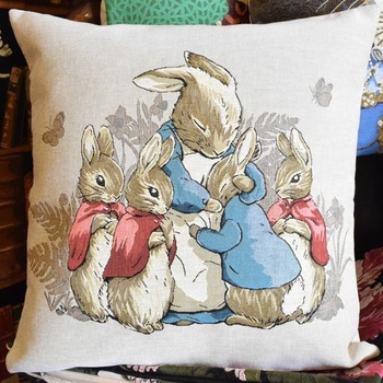 """Beatrix potter, Rabbit family""  Belgium Tapestry cushion"