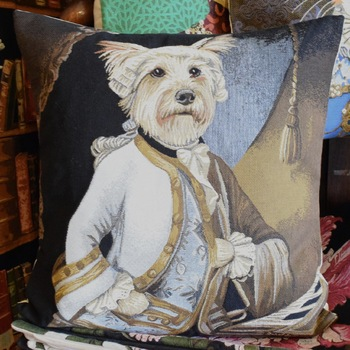 """""""Cairn as Mozart""""  Belgium Tapestry cushion"""