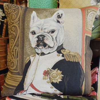 """French bulldog as Napoleon""  Belgium Tapestry cushion"