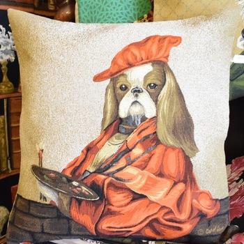 """""""Artist pekingese""""  Belgium Tapestry cushion"""