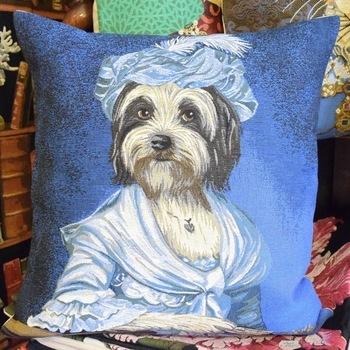 """Dog in blue dress""  Belgium Tapestry cushion"