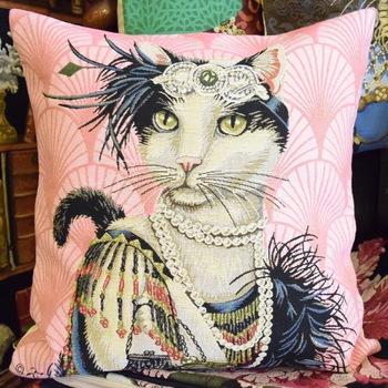 """""""Miss deco cat""""  Belgium Tapestry cushion"""