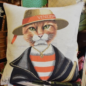 """""""Kat venezia""""  Belgische tapisserie kussen"""