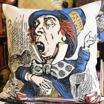 """Alice in wonderland, Mad hatter""  Belgium Tapestry cushion"