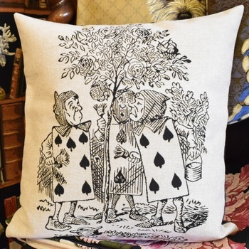 """Alice in wonderland, the playing cards zw/w""  Belgium Tapestry cushion"
