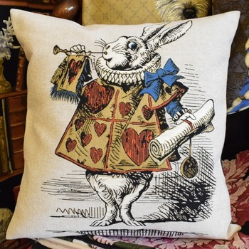 """Alice in wonderland, white rabbit""  Belgium Tapestry cushion"