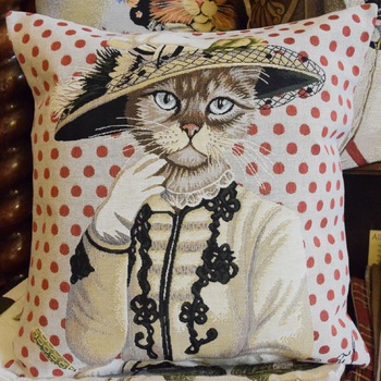 """""""Chat rouge""""   Tapisserie Belge coussin"""