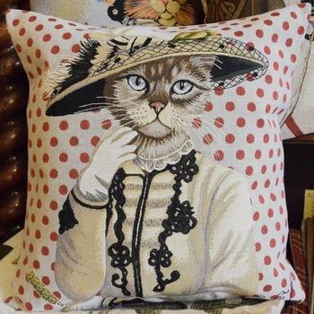 """""""Kat rood""""  Belgische tapisserie kussen"""