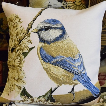 """Bird light rose (L)""  Belgium Tapestry cushion"