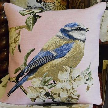 """Bird rose (R)""  Belgium Tapestry cushion"
