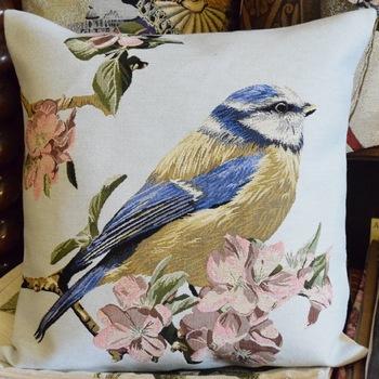 """Bird light blue (R)""  Belgium Tapestry cushion"