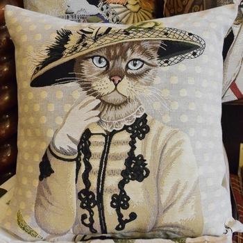 """Kat beige""  Belgium Tapestry cushion"