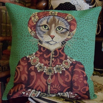 """Dressed up cat, green""  Belgium Tapestry cushion"