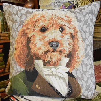 """Dressed up poodle apricot""  Belgium Tapestry cushion"