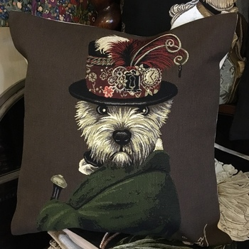 """""""Dressed up cairn terrier""""  Belgium Tapestry cushion"""