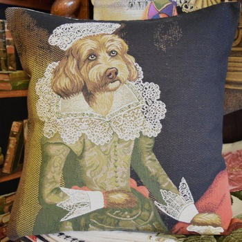 """Dressed up poodle apricot III""  Belgium Tapestry cushion"