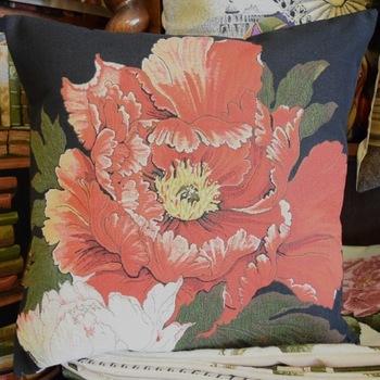 """""""Oranje roos, zwart""""  Belgische tapisserie kussen"""