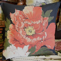 """Orange rose, black""  Belgium Tapestry cushion"
