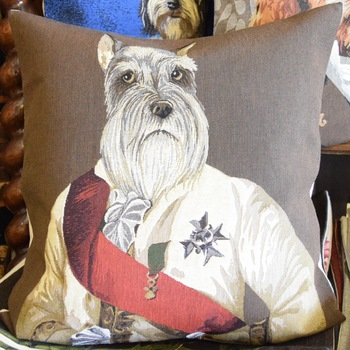 """Dressed up schnauzer dog (Brown)""   Belgium Tapestry cushion"