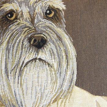 """Dressed up schnauzer dog (Brown)""   Belgium Tapestry cushion"