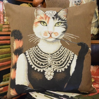 Audrey hepburn dressed cat (Brown)   Belgium Tapestry cushion