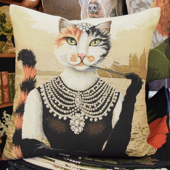 """Audrey hepburn dressed cat (Beige)""""   Belgium Tapestry cushion"""