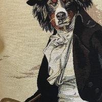 """Berner Sennenhond dressed up"" (beige) Belgische tapisserie kussen"